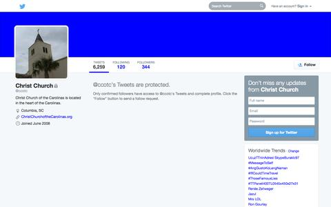 Screenshot of Twitter Page twitter.com - Tweets with replies by Christ Church (@ccotc)   Twitter - captured Oct. 22, 2014