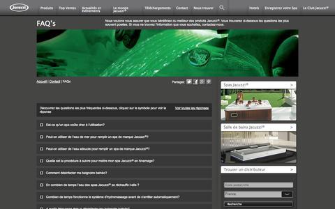 Screenshot of FAQ Page jacuzzifrance.com - FAQ's - captured Sept. 26, 2014