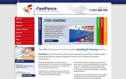 Screenshot of Home Page fastfence.co.uk - Hoarding and Fencing Systems | Steel Hoarding, Anti Climb Fencing | FastFence Contracting Ltd - captured Sept. 30, 2014