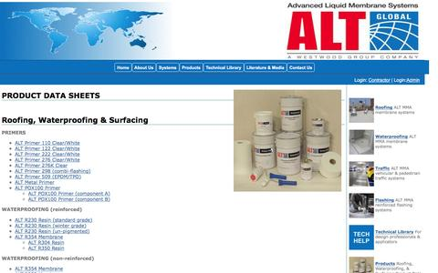 Screenshot of Products Page altglobal.com - ALT Global, LLC - Roofing, Waterproofing, & Surfacing - Products - captured Feb. 4, 2016