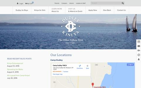 Screenshot of Locations Page campdudley.org - Our Locations - Dudley & Kiniya - captured Oct. 20, 2016