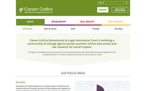 Screenshot of About Page canoncollins.org.uk - What we do | Canon Collins Educational and Legal Assistance Trust - captured Jan. 25, 2016
