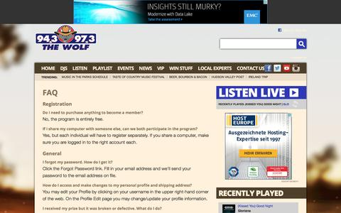 Screenshot of FAQ Page hudsonvalleycountry.com - 94.3 & 97.3 The Wolf – The Best Country All Day – Poughkeepsie Country Music - captured June 11, 2016