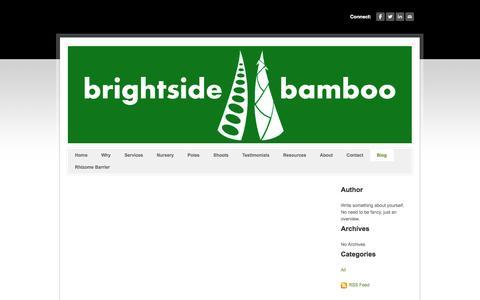 Screenshot of Blog brightsidebamboo.com - Brightside Bamboo - Bamboo nursery, landscaping, farming, and poles - Blog - captured Sept. 30, 2014