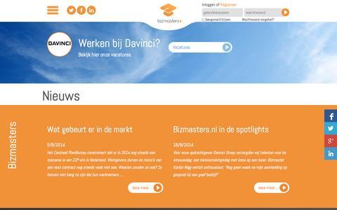 Screenshot of Press Page bizmasters.nl - Bizmasters   Starters & Werkgevers :: Nieuws - captured Sept. 30, 2014