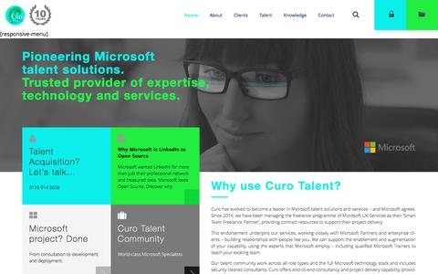 Screenshot of Home Page curotalent.com - Home - Curo Talent - captured July 16, 2016
