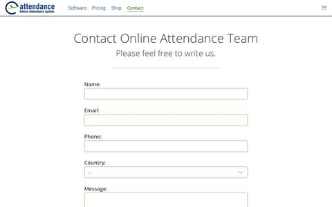 Screenshot of Contact Page eattendance.com - Contact time attendance system team for support and product enquiries - captured Oct. 29, 2017
