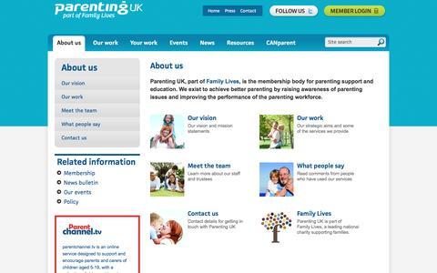 Screenshot of About Page parentinguk.org - Parenting UK - captured June 11, 2016