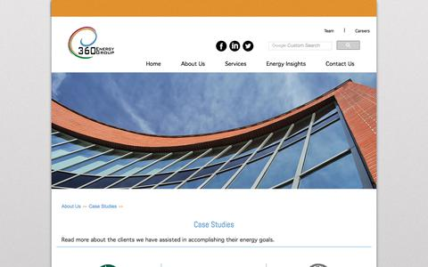 Screenshot of Case Studies Page 360eg.com - 360 Energy Group - Case Studies - captured Oct. 27, 2017