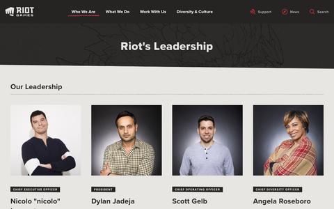 Screenshot of Team Page riotgames.com - Riot Games' Leadership | Riot Games - captured Sept. 8, 2019