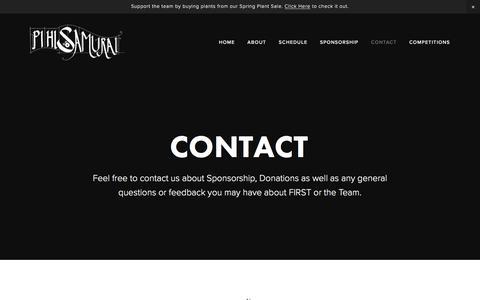 Screenshot of Contact Page pihisamurai.org - Contact - PiHi Samurai - captured May 17, 2017