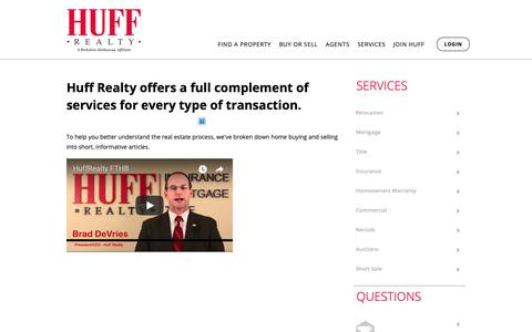 Screenshot of Services Page huff.com - Services | Huff Realty - captured Sept. 30, 2018