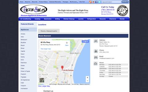 Screenshot of Contact Page Locations Page beachsalesinc.com - Visit the Beach Sales Store Location in Revere, by Boston, MA - captured Nov. 22, 2016