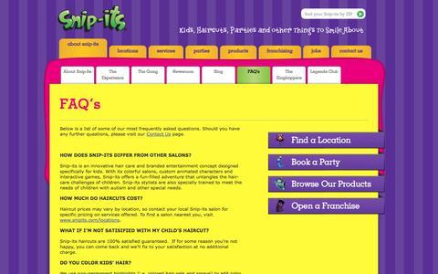 Screenshot of FAQ Page snipits.com - FAQ's » Snip-its - captured Sept. 19, 2014