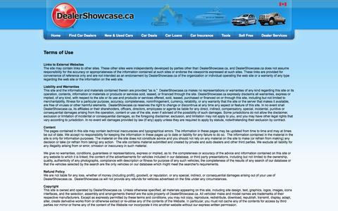Screenshot of Terms Page dealershowcase.ca - Terms of Use - captured Oct. 5, 2014