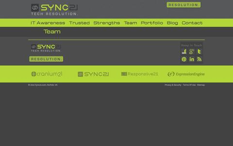 Screenshot of Team Page sync21.com - Sync21.com | Tech Resolution. - captured Sept. 30, 2014