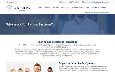 Screenshot of Jobs Page radius-systems.com - Why work for Radius Systems? - Radius Systems - captured Oct. 19, 2017