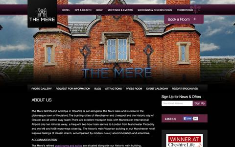 Screenshot of About Page themereresort.co.uk - Manchester Luxury Hotels   The Mere Golf Resort & Spa – About   Manchester Boutique Hotels - captured Oct. 1, 2014