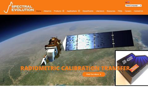 Screenshot of Home Page spectralevolution.com - Spectral Evolution: Full range UV-VIS-NIR Spectrometers and Spectroradiometers - captured Sept. 26, 2018