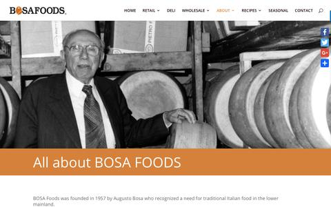 Screenshot of About Page bosafoods.com - ABOUT - Bosa Foods - captured Aug. 3, 2018