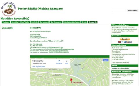 Screenshot of Contact Page projectmana.org - Contact Us - Project MANA (Making Adequate Nutrition Accessible) - captured Sept. 30, 2014