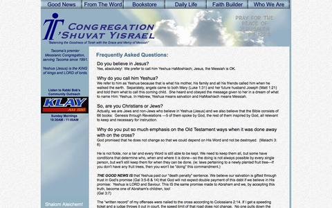Screenshot of FAQ Page yeshuati.com - Congregation T'shuvat Yisrael - Frequently Asked Questions - captured Jan. 31, 2016