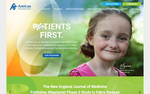 Screenshot of Home Page amicusrx.com - Amicus Therapeutics: Advancing Therapies to Treat Rare Diseases - captured Nov. 20, 2016