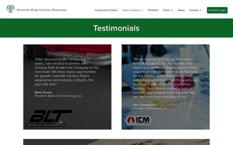 Screenshot of Testimonials Page centuryparkcapital.com - Testimonials | Century Park Capital Partners - captured Nov. 2, 2016
