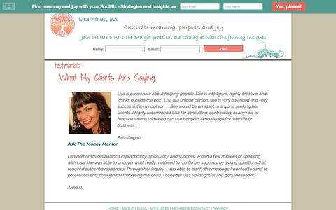 Screenshot of Testimonials Page lisahines.com - testimonials - - captured Oct. 5, 2014