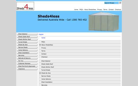Screenshot of Site Map Page Menu Page sheds4less.com.au captured Jan. 10, 2016