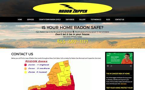 Screenshot of Contact Page radonzapper.com - Radon Gas Removal & Abatement Services in NY | Radon Zapper - captured June 18, 2017