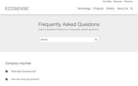 Screenshot of FAQ Page ecosenselighting.com - FAQ - Ecosense Lighting - captured Dec. 19, 2018