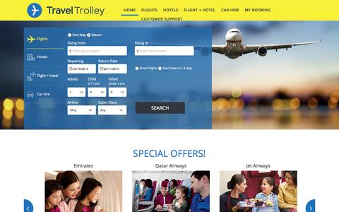 Screenshot of Home Page traveltrolley.co.uk - Flights to India - Search and compare cheap flights to India from UK - captured Oct. 21, 2015