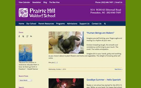 Screenshot of Blog prairiehillwaldorf.org - Prairie Hill Waldorf School   –  Blog - captured Oct. 3, 2014