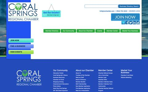 Screenshot of Testimonials Page cschamber.com - - Coral Springs Chamber of Commerce - captured Nov. 12, 2016
