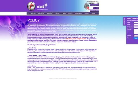 Screenshot of Privacy Page morelli.co.uk - Morelli Mesh   Policy - captured Oct. 26, 2014