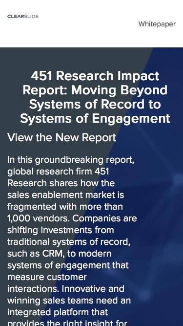 451 Research Impact Report: Moving Beyond Systems of Record to Systems of Engagement
