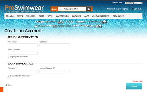 Screenshot of Signup Page proswimwear.co.uk - Create New Customer Account - captured Nov. 1, 2014