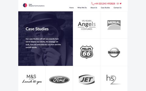 Screenshot of Case Studies Page ewagroup.com - Contact Centre Outsourcing, EWA Dedicated Contact Centre Solutions - captured July 9, 2018