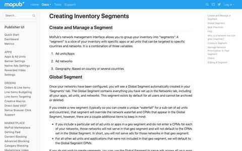 Screenshot of Developers Page mopub.com - Creating Inventory Segments   MoPub Publisher UI   MoPub Developers - captured Nov. 16, 2018