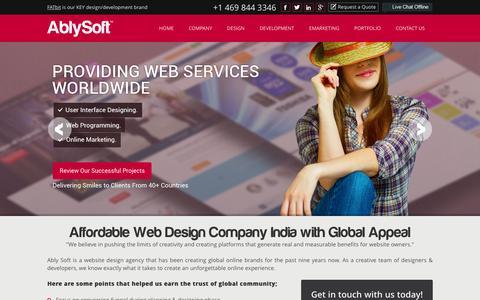 Screenshot of Home Page ablysoft.com - Best Web Design Company India | Affordable Web Designing Company - captured Jan. 24, 2016