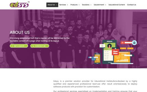 Screenshot of About Page edsys.in - About Us - Edsys - captured July 14, 2018