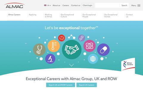 Screenshot of Jobs Page almacgroup.com - Careers - Almac - captured Jan. 28, 2019