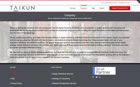 Screenshot of About Page taikuninc.com - About Us - Taikun Inc. - captured Dec. 20, 2016