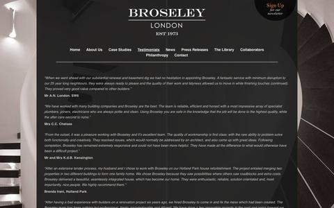 Screenshot of Testimonials Page broseley.com - Broseley: Award Winning Builders Kensington & Chelsea - captured Feb. 8, 2016
