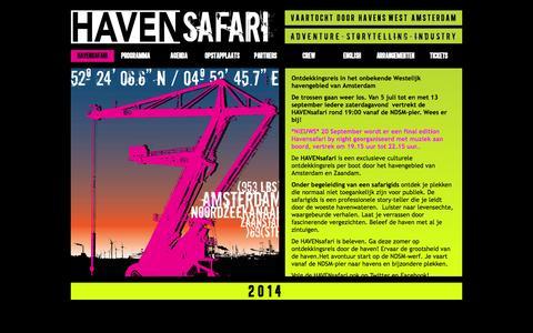 Screenshot of Home Page havensafari.nl - HAVENsafari - captured Oct. 4, 2014