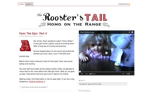 Screenshot of Home Page theroosterstail.com - The Rooster's Tail — Homo on the Range. - captured Oct. 9, 2014