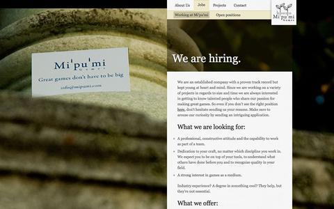 Screenshot of Jobs Page mipumi.com - Mi'pu'mi Games - Jobs - captured Feb. 13, 2016