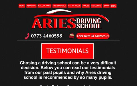 Screenshot of Testimonials Page driving-lessons-inverness.co.uk - Driving lessons Inverness, Testimonials - captured March 11, 2016