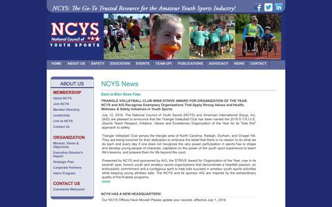 Screenshot of Press Page ncys.org - National Council of Youth Sports (NCYS) - captured Oct. 18, 2018